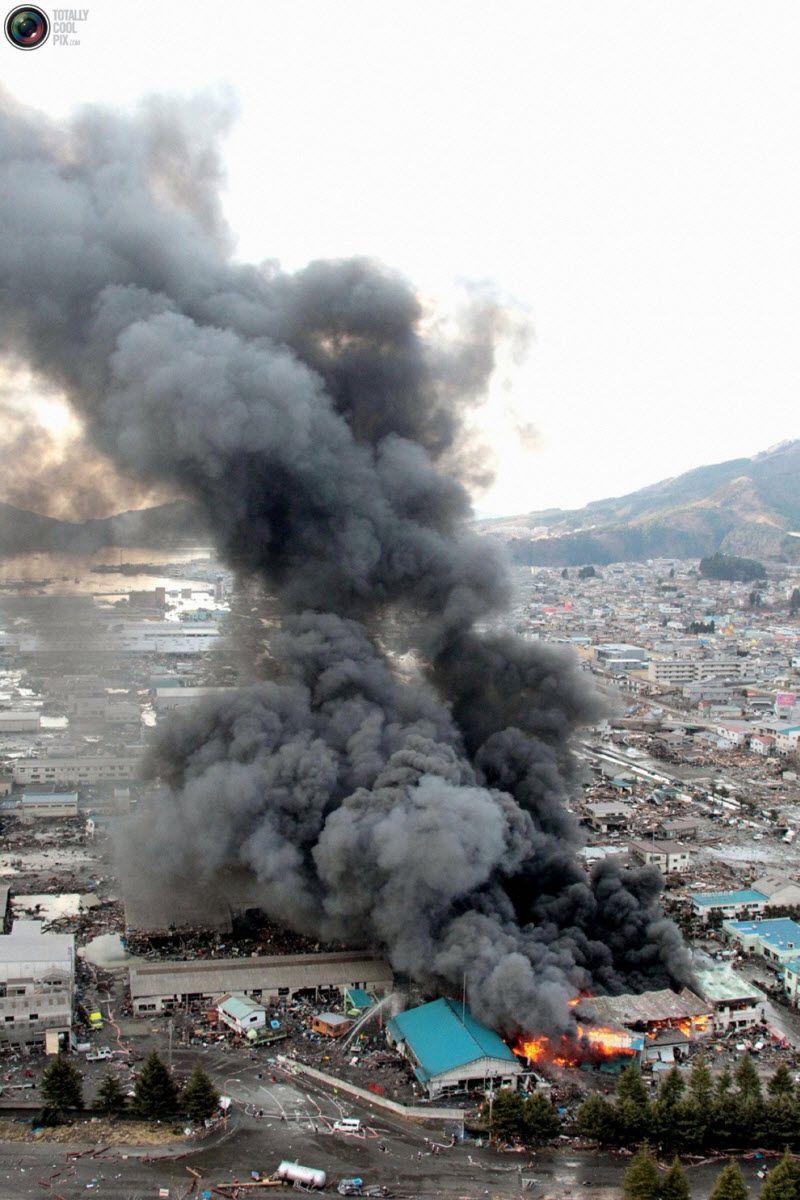 Пожар в префектуре Иватэ, 12 марта 2011 года.
