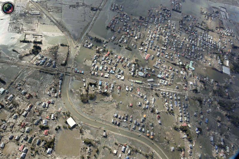 Сендай, вид с воздуха. Предупреждение о возможности цунами прозвучало в Японии сразу после землетрясения.