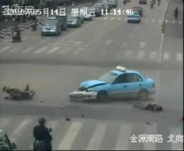 Авария мотоциклиста и полиции