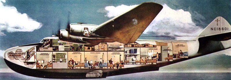 """Полет на Боинге-314 могли себе позволить только состоятельные люди. Например, слетать из Сан-Франциско до Гонконга и обратно в 1939-м году стоило 760 долларов; за полет в оба конца по маршруту Нью-Йорк-Саутгемптон надо было расстаться с 675 долларами. Для сравнения: практически столько же стоили билеты на сверхзвуковой """"Concorde"""" в 2006-м году."""