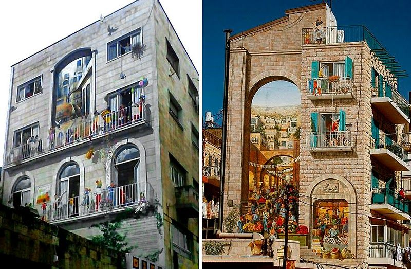 Следующая настенная живопись находится в Иерусалиме, и отражает многогранное прошлое города: