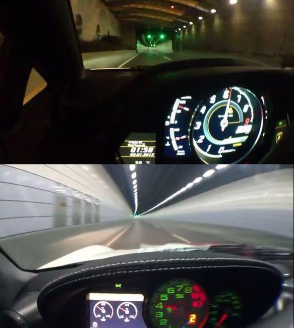 Рык Ferrari 599 GTO и Lamborghini Aventador в тоннеле (ВИДЕО)