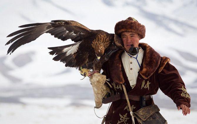 Охота с соколом в Казахстане