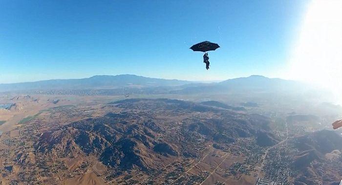 парашют, прыжок, зонт, экстирм,