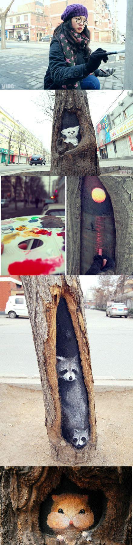 Фотоподборка дерево, красивый рисунок, крутая, рисует, художница