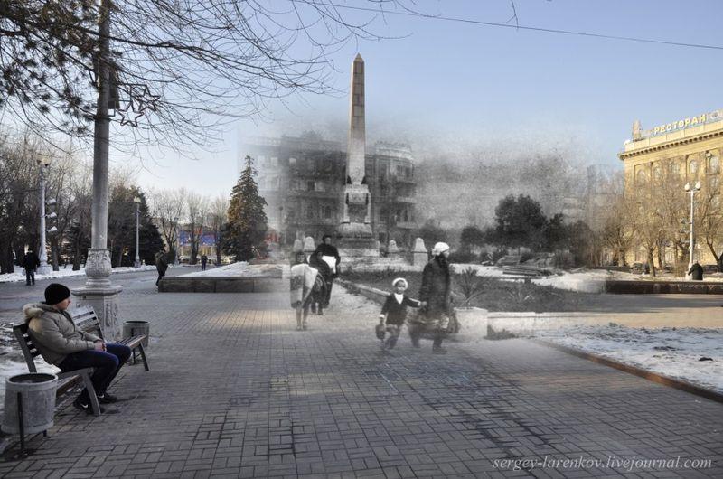 вов, волгоград, вторая мировая, сталинград, тогда и сейчас, фотомонтаж