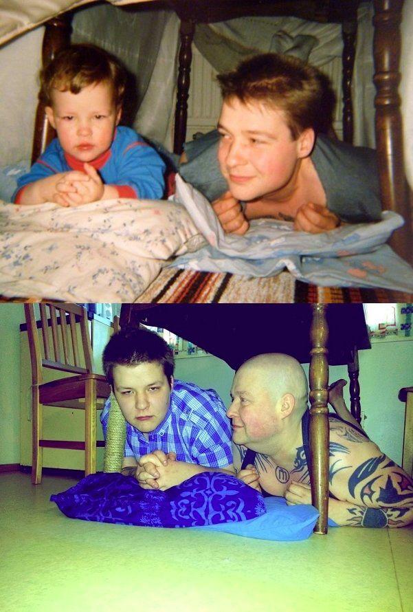 Новый фотоприкол отец и сын, спустя время, тогда и сейчас