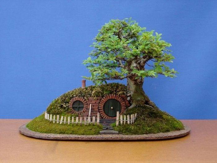дерево, бонсай, хоббит, художник, растение