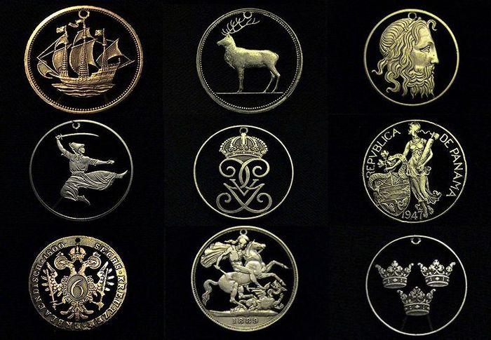 монета, кулон, украшение, резка, серебро