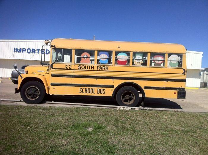 Фотожесть рисунок, школьный автобус, южный парк