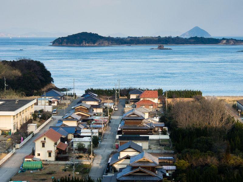 япония, поезд, окно, море