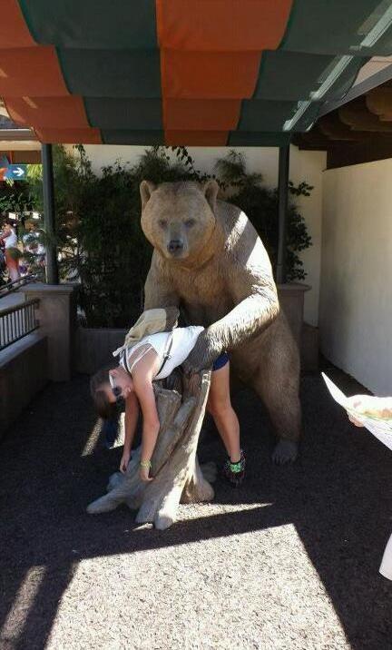 Бесплатный фотоприкол девушка, медведь, прикол, раком