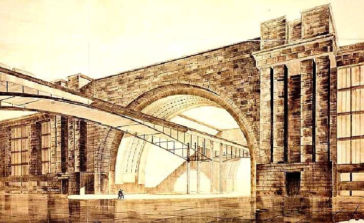 Дворец техники (А. Самойлов, Б. Ефимович. 1933) Проект представлял собой комплекс научных и технических учреждений. Планировалась построить его на набережной Москвы-реки. По независящим от нас причинам, проект реализован не был.