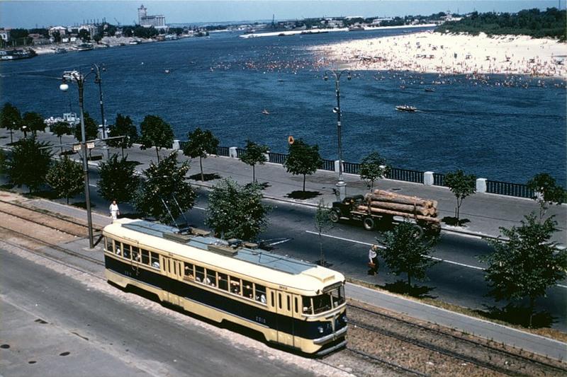 Днепровская Набережная и Труханов остров, 1957 год