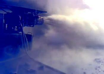 Пожарная установка АГВТ в действии