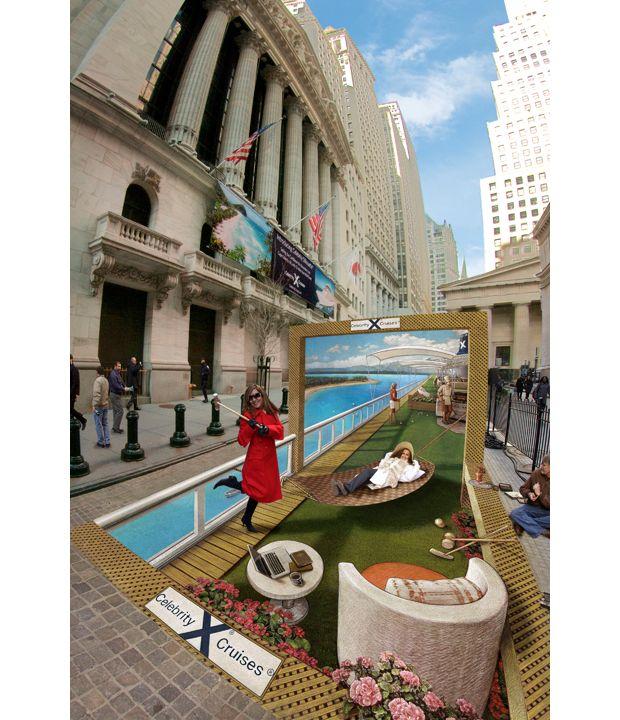Дверь в Карибы в городе Нью-Йорк, в апреле 2011 года. Тротуар перед Нью-йоркской фондовой <br> биржей был преобразован в роскошное круизное судно, транспортирующее публику в экзотические <br> страны.