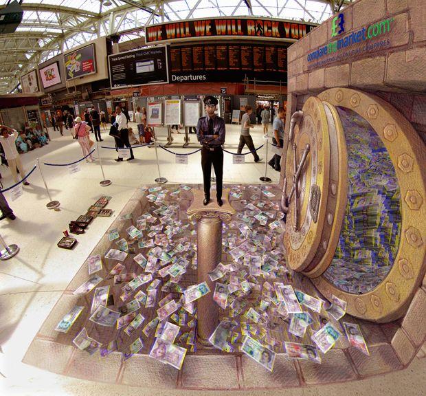 «Денежная яма» на вокзале Ватерлоо, в октябре 2008 года. На этой картине изображен охранник <br> банка, стоящий над ямой, полной банкнот, это была первая стереоскопическая картина, нарисованная <br> на полу, когда-либо созданная с помощью очков Colorcode.