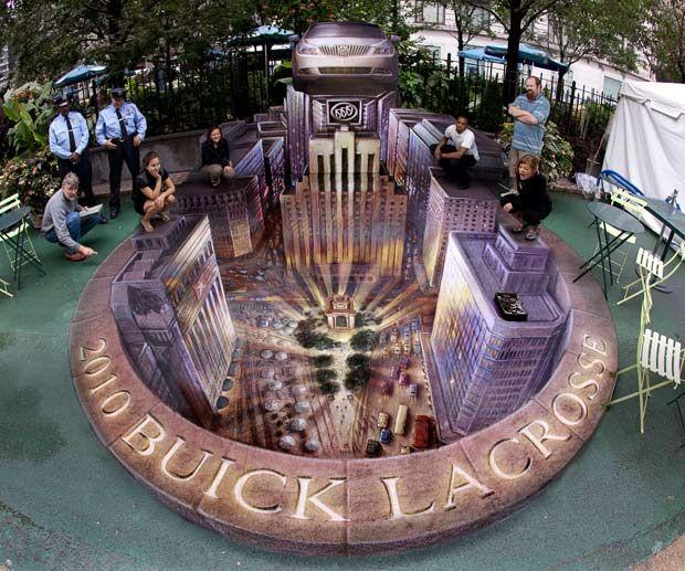 Это является одним из трех интерактивных рисунков на тротуарах, созданных для компании Buick в <br> 2009 году в Herald Square в Нью-Йорке.