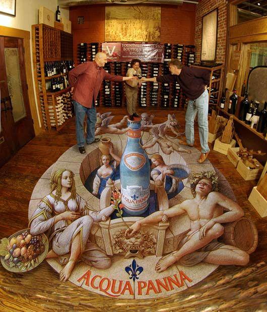 «Aqua Panna» в V винном подвале в Напа, Калифорния.