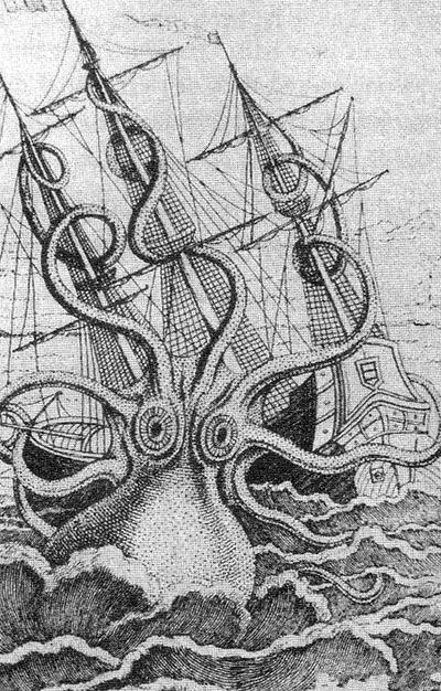 Есть такое загадочное существо, ужасный сон мореплавателя — архитеутис, он же гигантский кальмар, <br> он же легендарный кракен. Этот мега-моллюск достигает 18 метров в длину и 1000 кг живого веса. <br> Когда-то в океанах их шныряло много, но в конце 19-го века популяция монстров сильно сократилась <br> и теперь архитеутисы крайне редко попадают в лапы руки зоологов.
