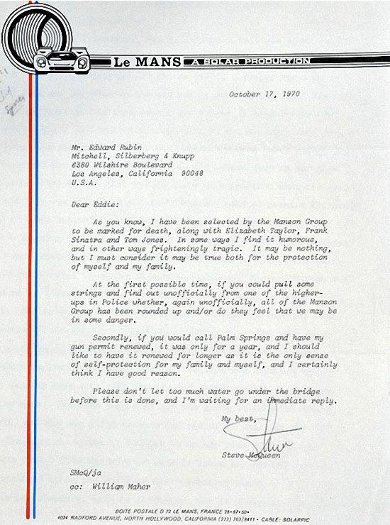 Письмо Стива МакКуина об угрозах Чарльза Мэнсона. (REX FEATURES)