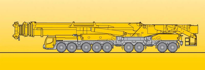 Макс. грузоподъемность — 1 200 т при 2,5 м вылете. Телескопическая стрела — 18,3 м — 100 м. Решетчатый удлинитель стрелы — 24 м — 126 м. Дизельный двигатель шасси (8 цилиндров) фирмы «Либхерр» с турбонагнетателем, мощность 500 кВт (670лс). Дизельный двигатель крановый установки (6 цилиндров) фирмы «Либхерр» с турбонагнетателем, мощность 240 кВт. Привод / рулевое управление — 18 x 8 x 18. Скорость передвижения — 75 км/ч. Вес в транспортном положении — 96 т. Общий вес противовеса — 202 т.