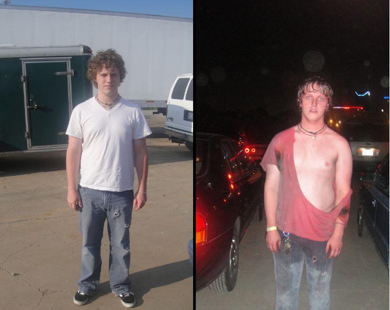 А вот паренек, который в первый раз попал на это концерт. До (слева) и после (справа):