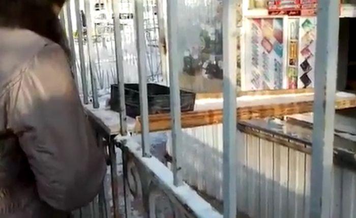 Киоск оборудован современной системой безопасности (видео)