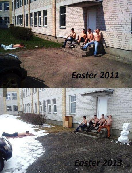 Бесплатный фотоприкол весна, жесть, пасха, прикол, снег