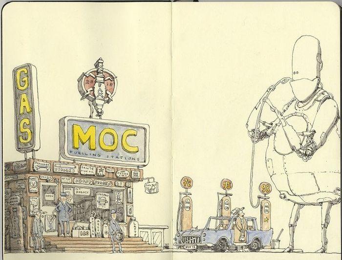 рисунки, тетрадь, карикатура