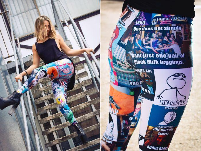 Фотоприкол недели леггинсы, ретузы, рисунок на одежде, штаны