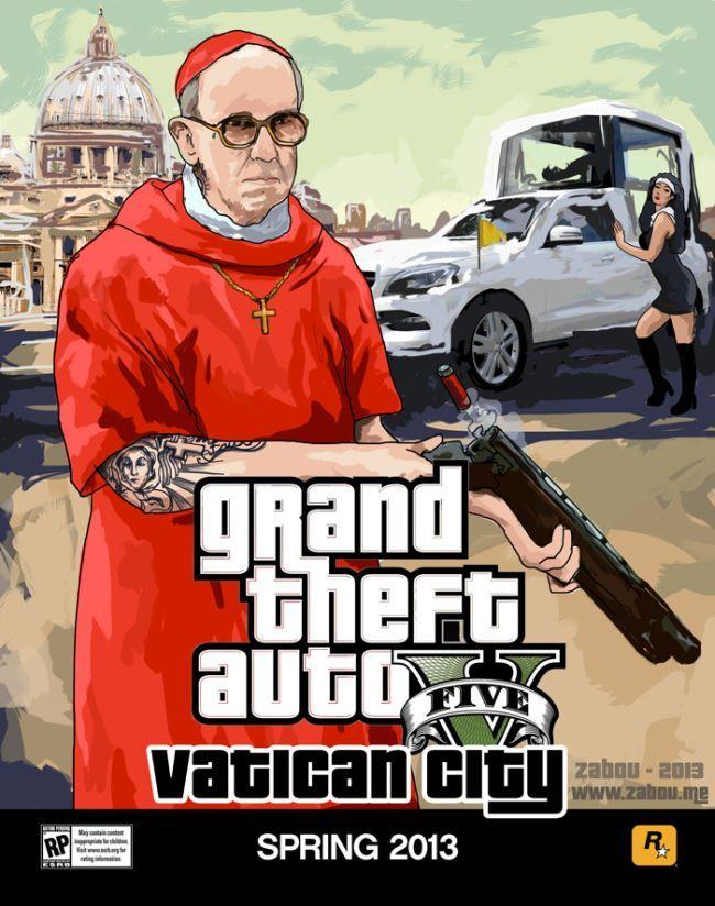 Прикол картинка ватикан, гта, папа римский, пародия, прикол