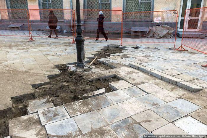 ситуация, плитка, зона, пешеход, ремонт, строительство
