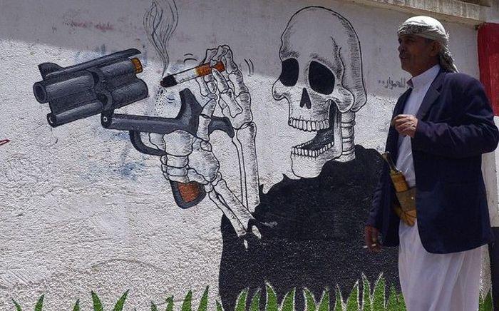 Фанни фото граффити, на стене, рисунок, сигарета