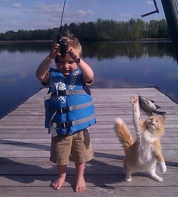 Бесплатный фотоприкол котейка, ребенок, рыбалка, рыбка