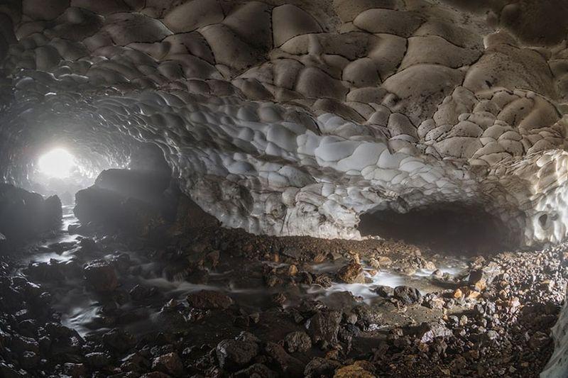 камчатка, пещеры, снег