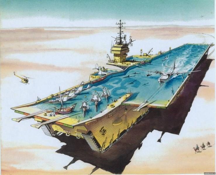 Фотка авианосец, крутой рисунок, пустыня