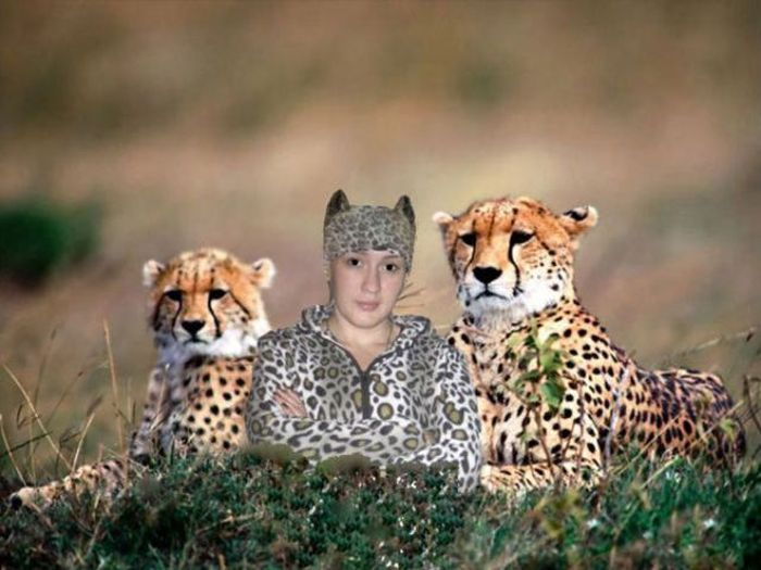 Яркие фото девушка, костюм, леопард, смешная фотография