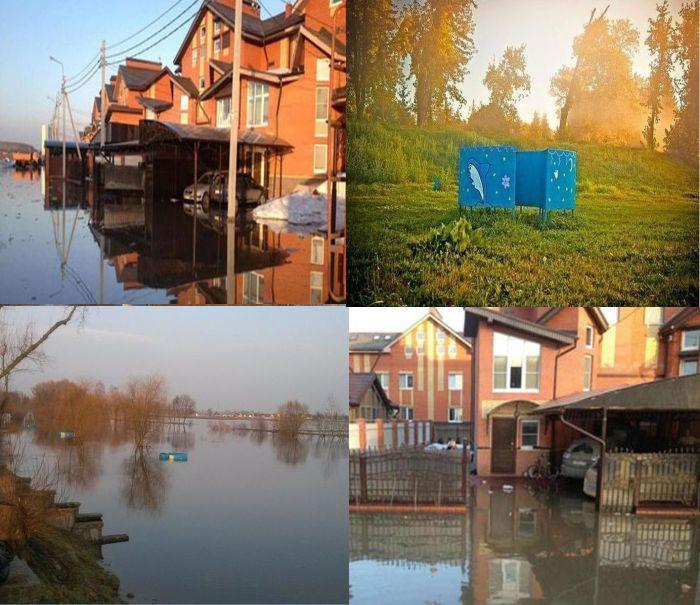 затопление, весна, озеро, лодка, снег, зима