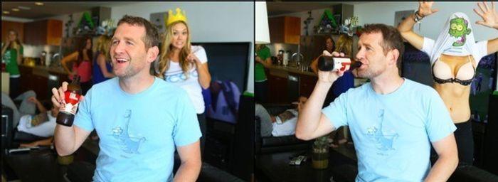 Фотоприкол онлайн грудь, девушка, задний план, мужик