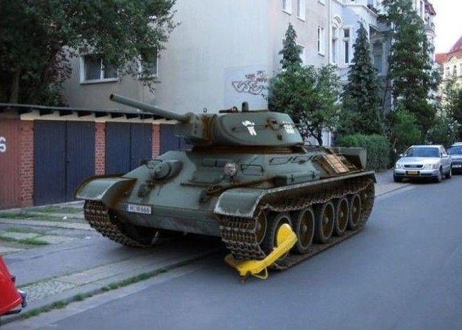 Фото онлайн прикол, танк, штраф за парковку