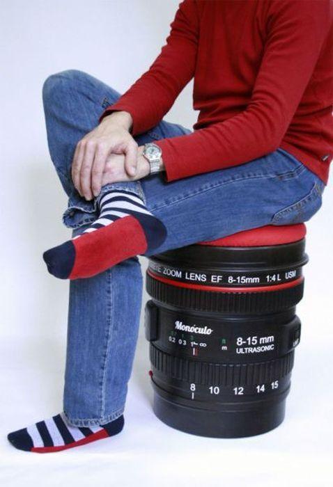 Свежий фотоприкол объектив, прикол, пуфик, стул