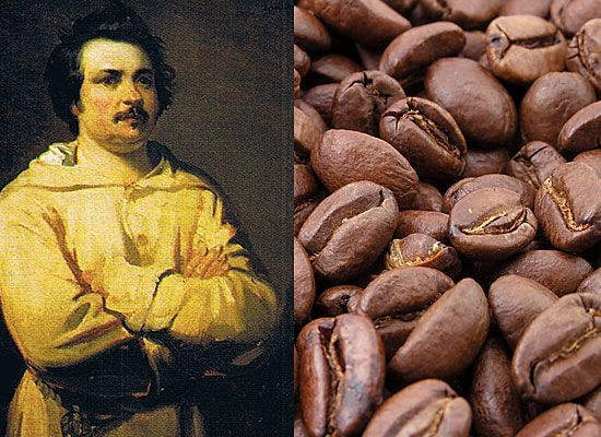 Бальзак — кофеин<br/>Многие из нас могут сказать, что тоже пристрастились к кофеину, и если не выпьют чашечку кофе или баночку Колы с утра, то весь день будет болеть голова. Но это ерунда по сравнению с болезненным пристрастием к кофе известного французского писателя. Бальзак был очень плодовитым автором и работал ежедневно, по много часов. Чтобы поддерживать себя в форме, Бальзак пил много кофе, пренебрегая сном. Он любил повторять, что ароматный напиток наполняет его голову множеством мыслей. Считается, что именно кофе стал причиной болезни сердца, от которой писатель скончался на пятидесятом году жизни. В день он мог выпить более двадцати чашек ароматного напитка.<br/>В наше время такое пристрастие к кофе и кофесодержащим напиткам называется кофеинизмом (вид токсикомании). Может привести к серьезным нарушениям деятельности сердечно-сосудистой, нервной систем, головным болям, нарушению сна, вызывая нервозность, повышенную возбудимость, раздражительность. Возникает сниженное, пессимистическое настроение. Так что, может, стоит пересмотреть некоторые свои привычки?