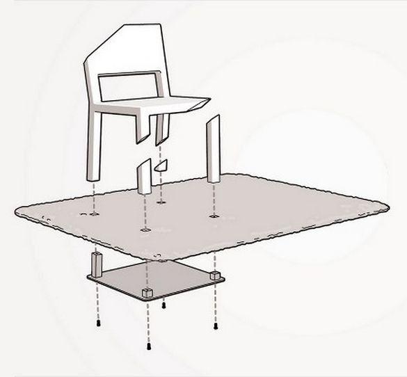 Все очень просто: единственная целая ножка стула прикреплена к широкой пластине, которая спрятана под ковром. Поэтому-то стул и не падает, что на первый взгляд очень удивляет непосвященного зрителя :)