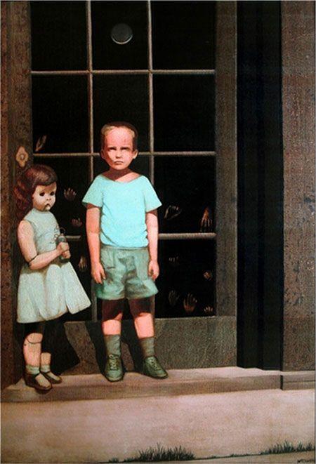 Другой «проклятой» картиной, которая широко известна, считается работа калифорнийского художника-сюрреалиста «Hands Resist Him» («Руки сопротивляются ему») Билла Стоунхема. Художник написал ее в1972 году с фотографии, на которой он со своей младшей сестрой стоит перед родным домом. На картине мальчик с неясными чертами лица и кукла в рост живой девочки застыли перед стеклянной дверью, к которой изнутри прижаты маленькие ручки детей. С этой картиной связано много жутких историй. Началось все с того, что первый искусствовед, который увидел и оценил произведение, скоропостижно скончался.
