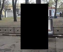 Медведь танцует стриптиз на улице.
