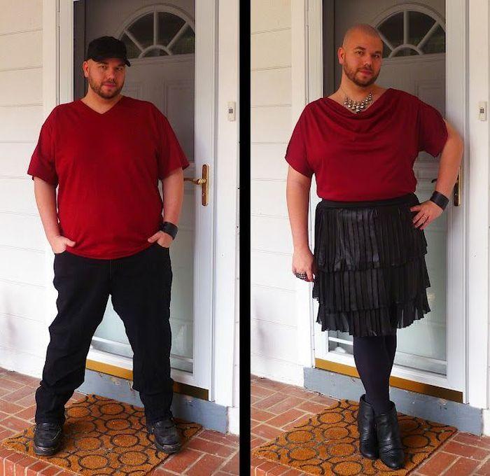 женскую фото одежду одевает мужик
