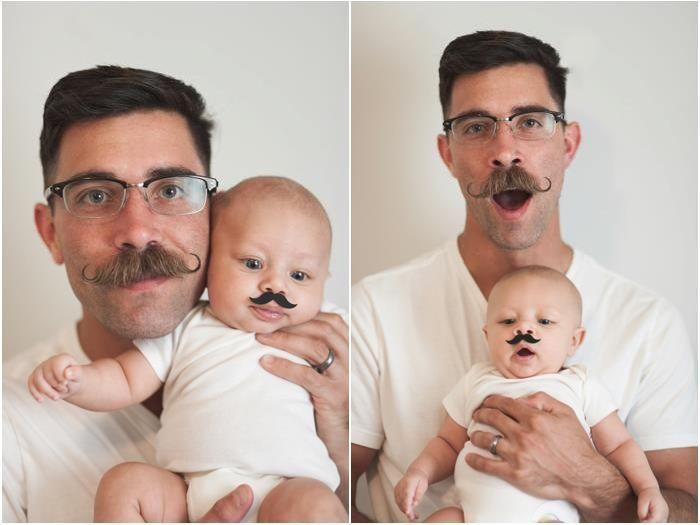 Фотоподборка малыш, отец и сын, усы