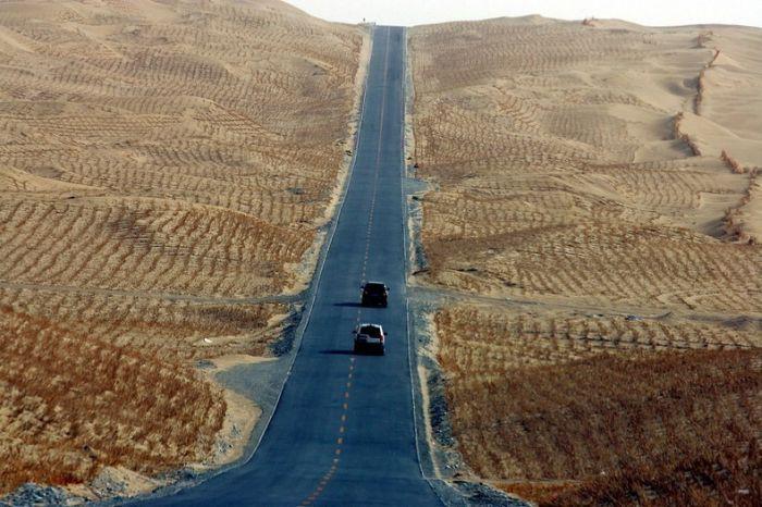 пустыня, китай, шоссе