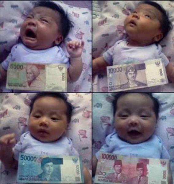 Смешные картинки деньги, купюры, реакция, ребенок